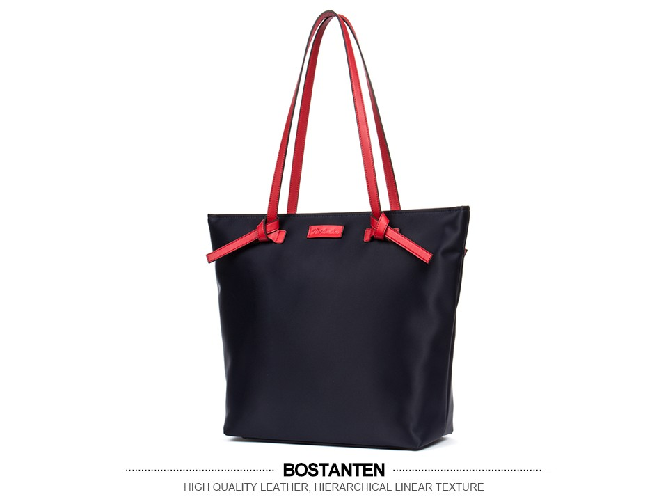 Bostanten Women Bags Nylon Casual Tote Red/Brown Zipper Waterproof Shoulder Bag Shopping Tote Bags Weekender Satchel Handbags