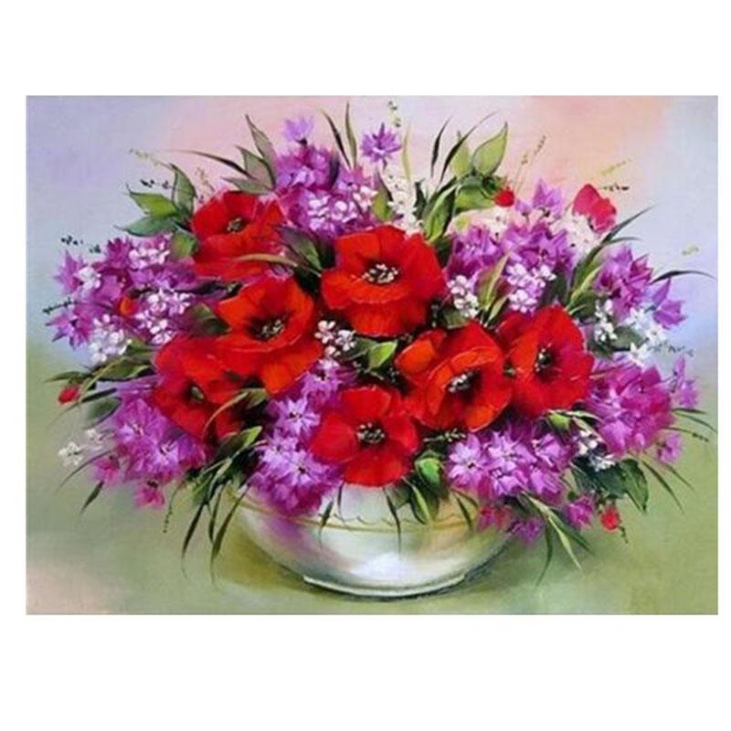 Diamond embroidery red purple flower vase d cross stitch