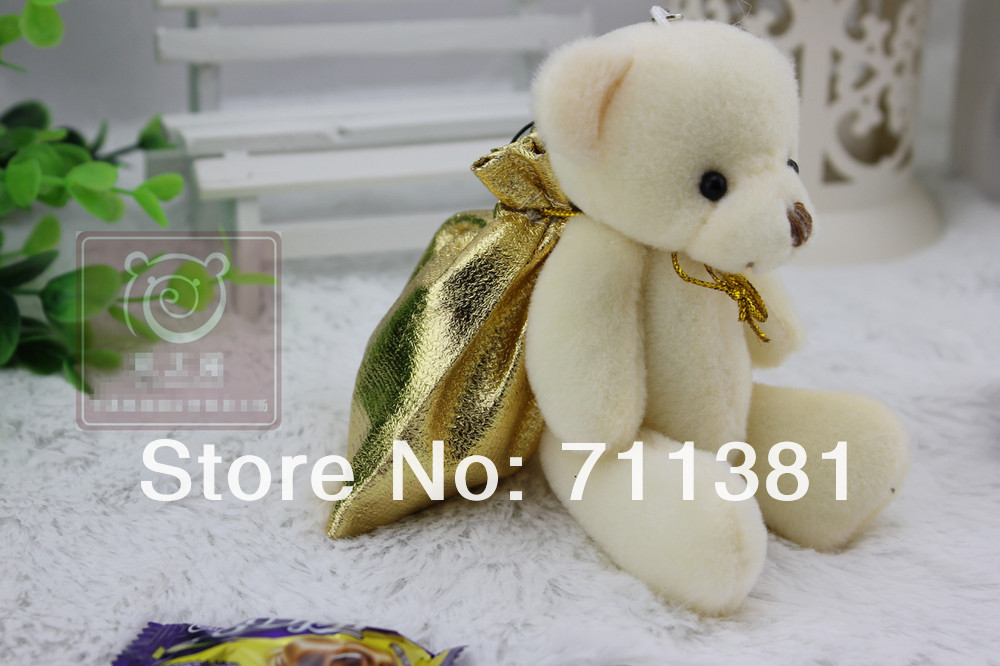 Free Shipping By EMS, Unique Design Wedding Plush Stuffed Toys, Small Teddy Bear Dolls Bear Toy With A Sweet Bag(China (Mainland))