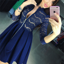 2016 autumn fashion new women's lace dress casual o-neck long sleeved dresses sexy chest zipper party dress vestido de encaje(China (Mainland))