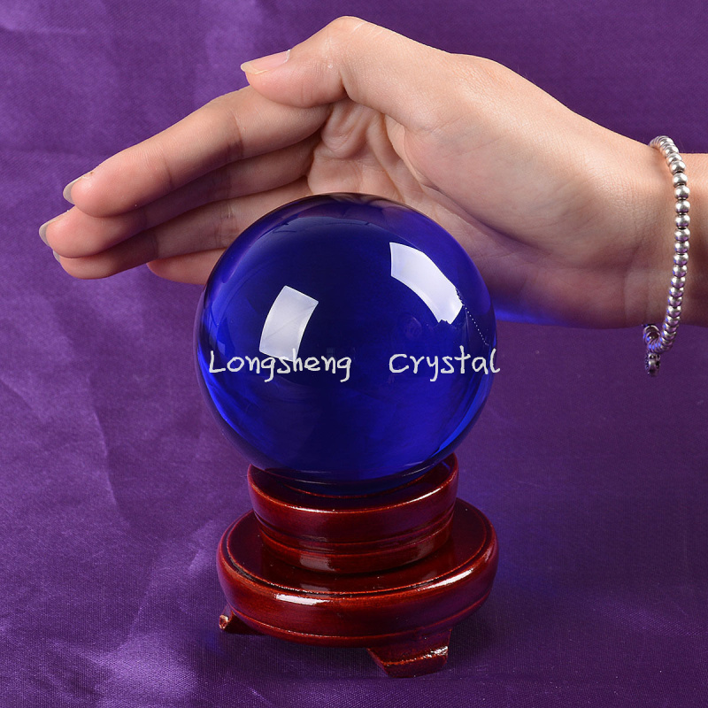 Ship From USA LS04B-2 80mm Blue Solid Crystal Ball Decors With Stand ORB Healing Crystals Venue Decorations(China (Mainland))