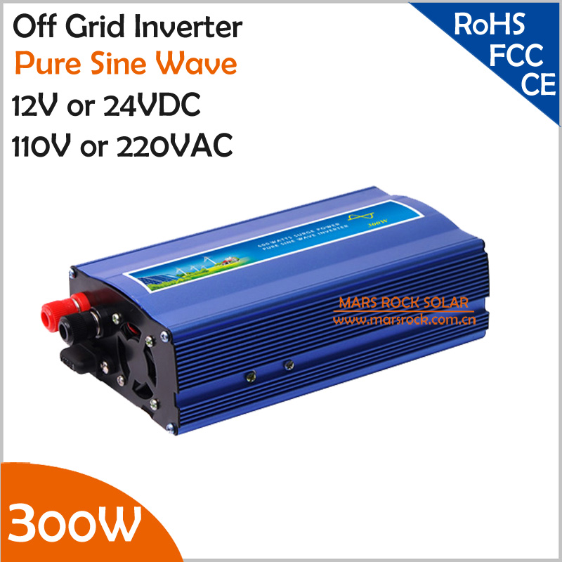 300W off grid inverter, 12V/24V DC to AC110V/220V pure sine wave inverter for small solar or wind power system, surge power 600W(China (Mainland))