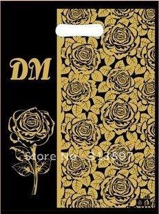 Free shipping!! 50pcs/lot  35*45cm/ Fashion Garment DM Golden Flower Plastic Bags