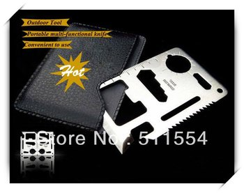 11 in 1 Multipurpose Pocket Survival Card knife,Emergency Mini Multi functional outdoor survival  tool with PU leather cover