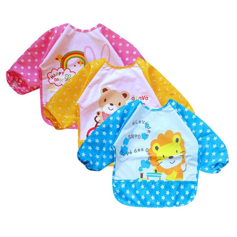 New Cartoon Baby Bibs Waterproof Long Sleeve Burp Cloths Feeding Art Smock Apron Infant Clothing babador baberos bebes(China (Mainland))