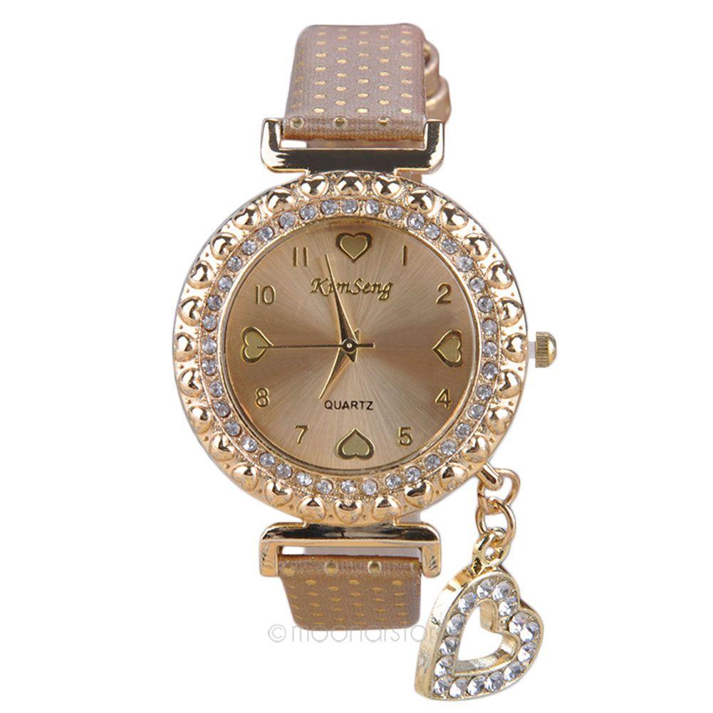 Brand Luxury Ladies Women Rhinestone Dots & Hearts Wrist Watches Rose Gold Fashion Leather Quartz Clock Reloj Mujer A4USMPJ621(China (Mainland))