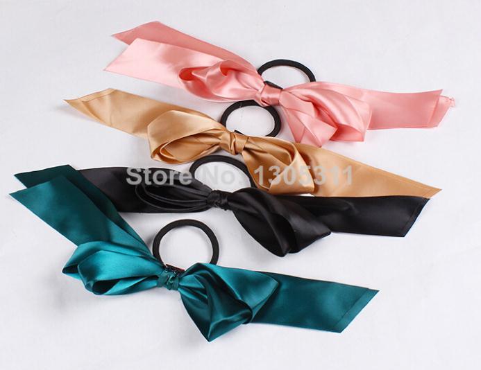 One Pcs Free Shipping Women Hair Rope Multicolor Scrunchie Ponytail Holder Satin Ribbon Bow Hair Band(China (Mainland))