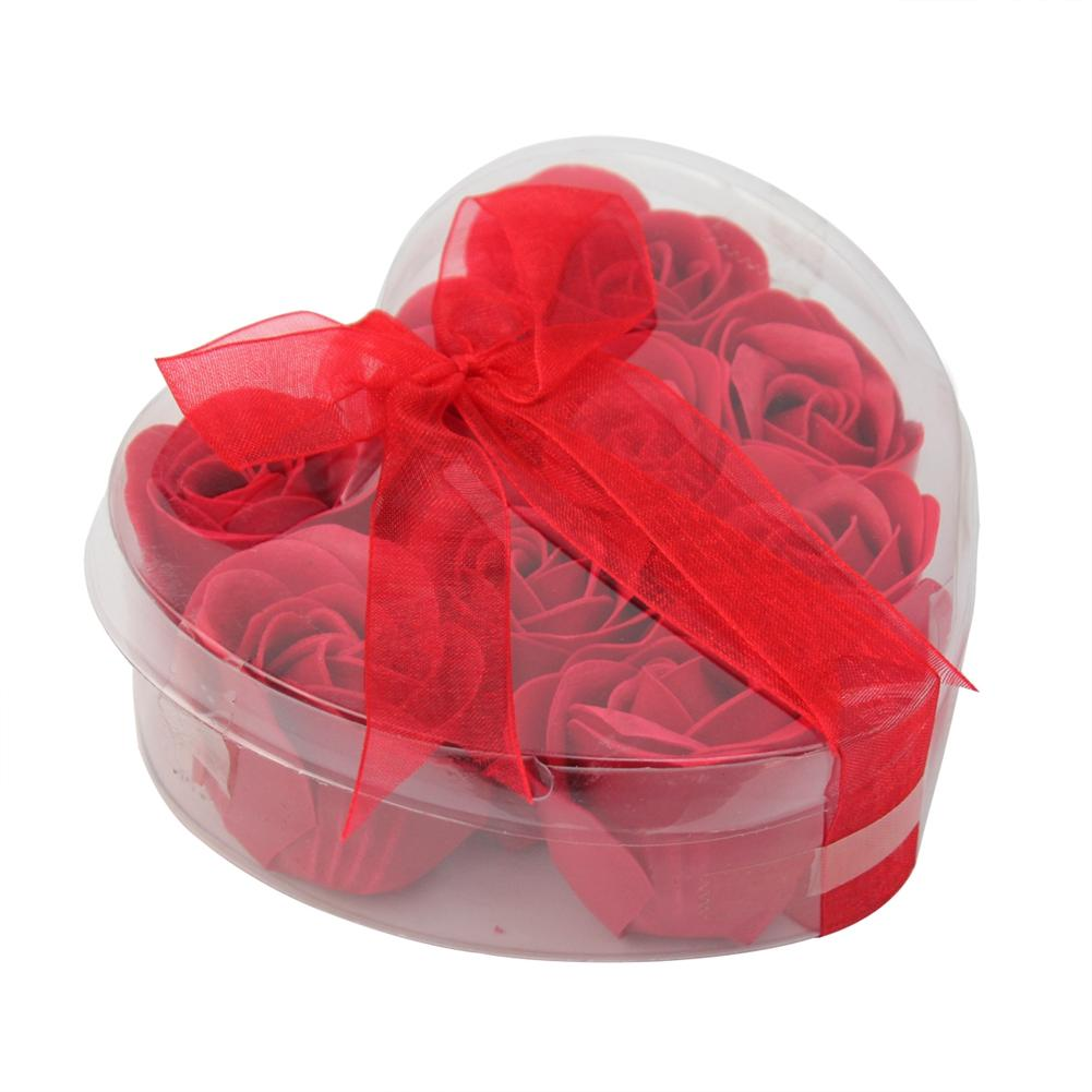 9 PCS beautiful Bath Body Heart Rose Petal Pattern Wedding Gift Favor Flower Scented Red Soap(China (Mainland))