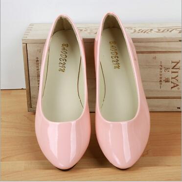 Лето стиль классический женская обувь конфеты цвета небольшой указал платформы обувь ...