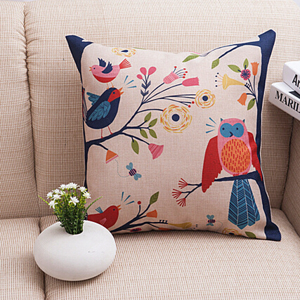 Creative vintage cushion cover Cotton Linen Body car covers Anime Hugging Pillow Cases Cartoon Color Owl Decorative coussin SD8(China (Mainland))