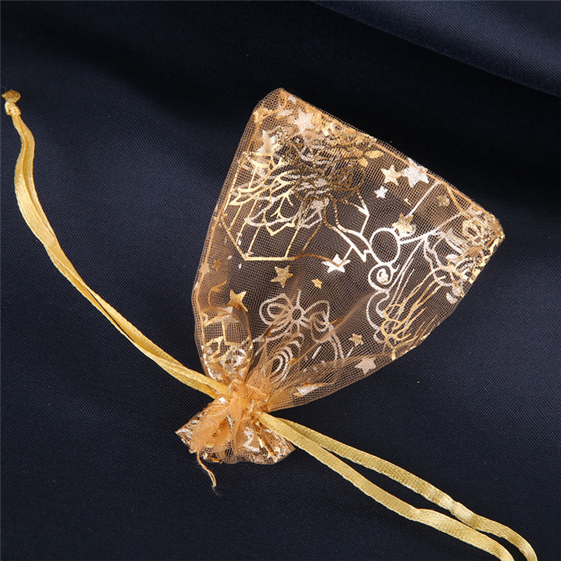 7*9cm 50pcs/lot Organza Jewelry Packaging Bags & Pouches Wholesale Red/Gold Drawstring Gift Pacakge Storage Bag 120321(China (Mainland))