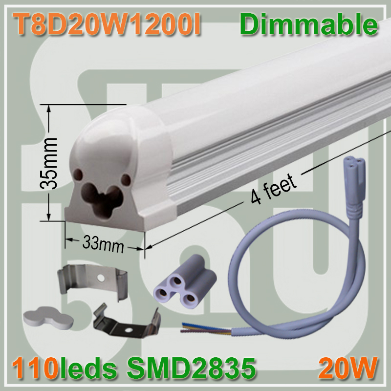 4pcs/lot  Dimmable T8 integrated tube 4ft 1200mm milky  clear cover available 20W surface mounted lamp comes with accesory<br><br>Aliexpress