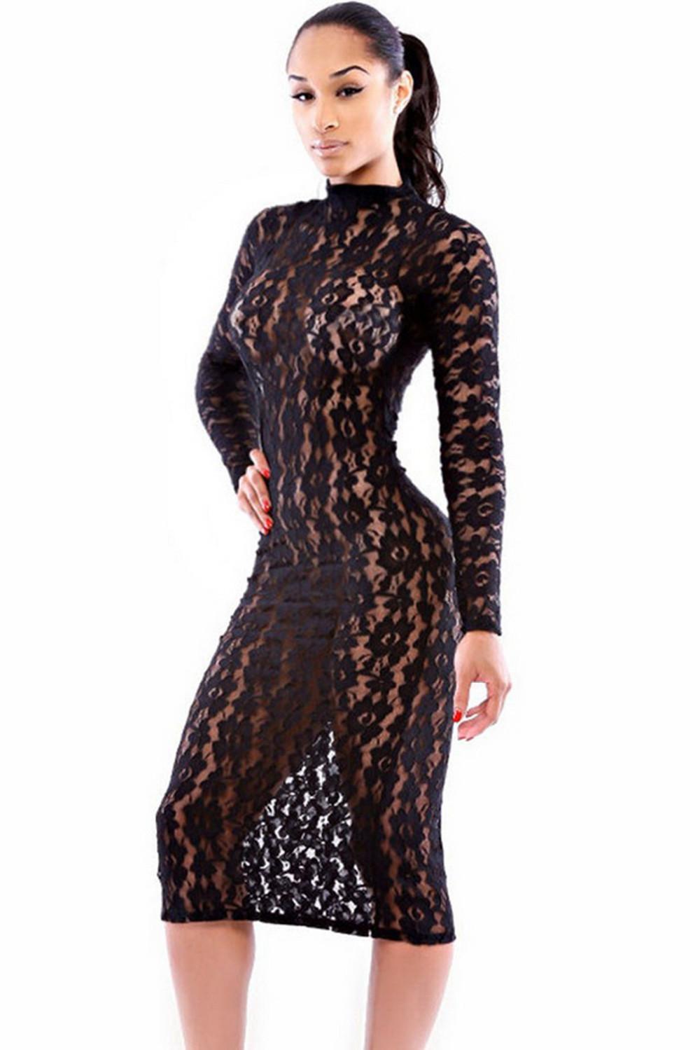 Черное прозрачное платье 14 фотография