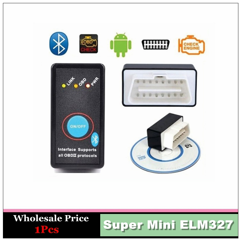 Hot 2016 Super Mini ELM327 Car Bluetooth OBD2 OBDII Android Symbian Windows Auto ELM 327 code Scanner Diagnostics Tool+Switch(China (Mainland))