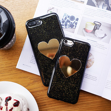 Buy Luxury Bling Glitter Gold Mirror LOVE Heart Cases iphone 7 Fashion Shining Powder Soft Back Cover iphone 7 6 6S Plus for $2.44 in AliExpress store