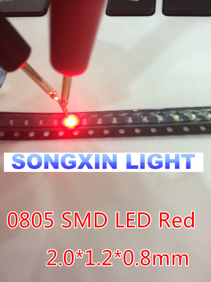 100pcs LEDs SMD 0805 Red Diodes SMD LED 0805 SMD Diode 2.0*1.2*0.8mm 0805 smd led Red light-emitting diode 620-625nm(China (Mainland))