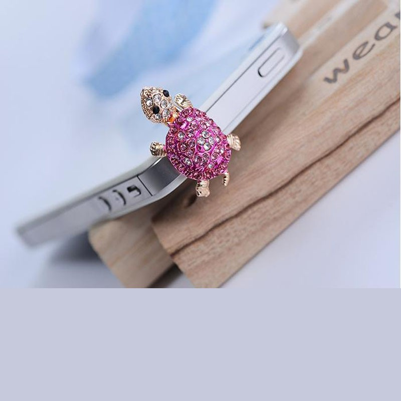 Fashion Bling Crystal Lovely Phone Dust Plug Turtle Earphone 3.5mm Jack Plug For iPhone Samsung Xiaomi Sony LG(China (Mainland))