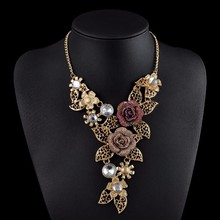 European Vintage Gold plated Rose Rhinestone Necklaces & Pendants Link Accessories Choker Maxi Necklace Women Statement Jewelry(China (Mainland))