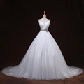 Good Quality V neck Crystal Belt Organza Wedding Gowns White Mariage A line Spaghetti Strap High