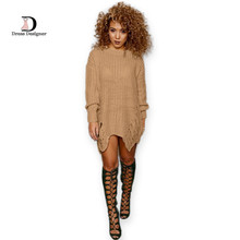 2016 Casual Knitted Sweater Dresses Women Long Sleeve pullover Round Neck Bodycon Irregular Khaki/Black Loose Sweater Dress(China (Mainland))