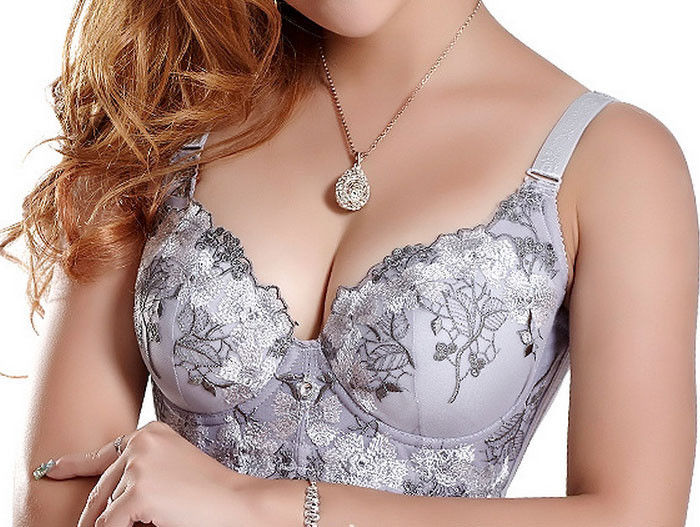 Hot Fashion Lady Women Deep-V Sexy Embroidered Side Support Push Up Bra