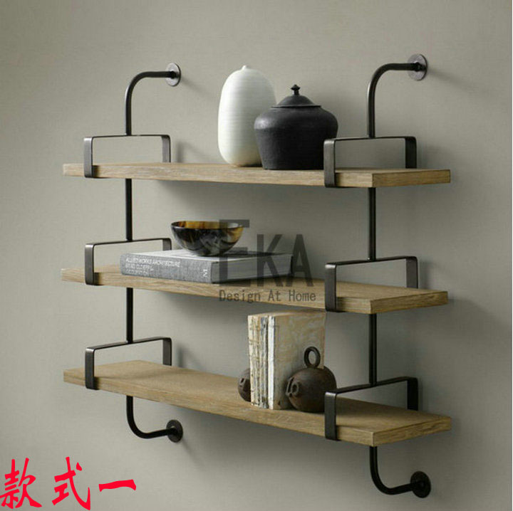 Loft retro wood color wood wall mount shelf bookcase - Etagere murale habitat ...