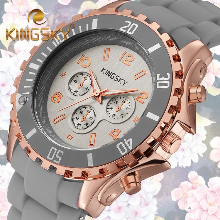 KINGSKY Gray Cool Fashion Summer Hot Lady Alloy Plastic Watch Female Analog Wristwatch Jewelry Accessory Graduation School Gift(China (Mainland))