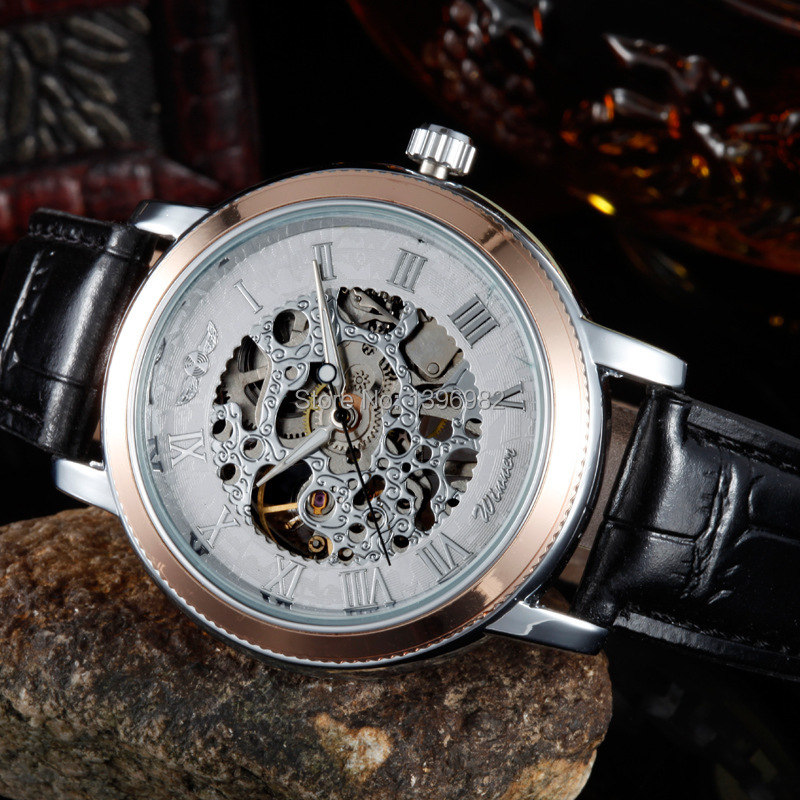 New Fashion Leather Strap men watches Senior Gem Glass Manual Mechanical Men's Watches(China (Mainland))