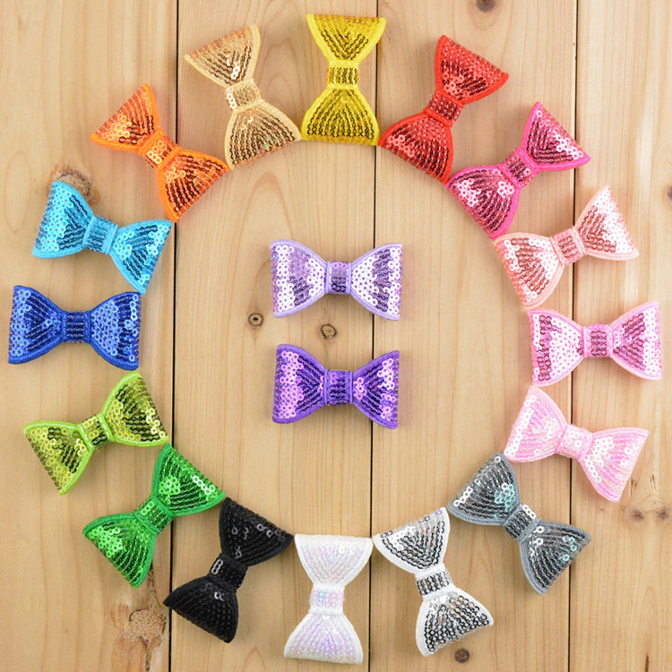 Free shipping , 2 Sequin Bow Applique, Hair Bow Embellishment Headband Clippies Shinny bowОдежда и ак�е��уары<br><br><br>Aliexpress