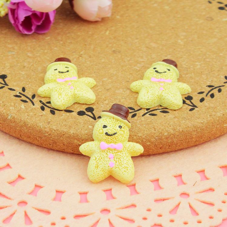 100pcs/lot Flat back resin gingerbread man cartoon 24*30mm Cabochons Scrapbooking Hair Bow Center Card Frame Making Craft DIY(China (Mainland))