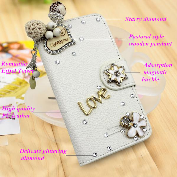 Beautiful bling diamond crystal rhinestone protective leather flip phone case Samsung Galaxy Pocket Neo S5310 +gifts - NO.1 Case store