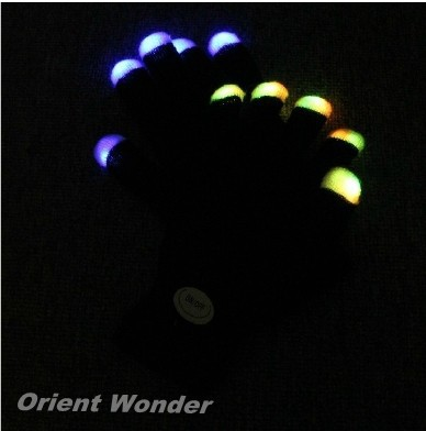 Party LED Gloves Rave Light Flashing Finger Lighting Glow Mittens Magic Black Gloves Party Accessory 200pcs (100 pairs)(China (Mainland))