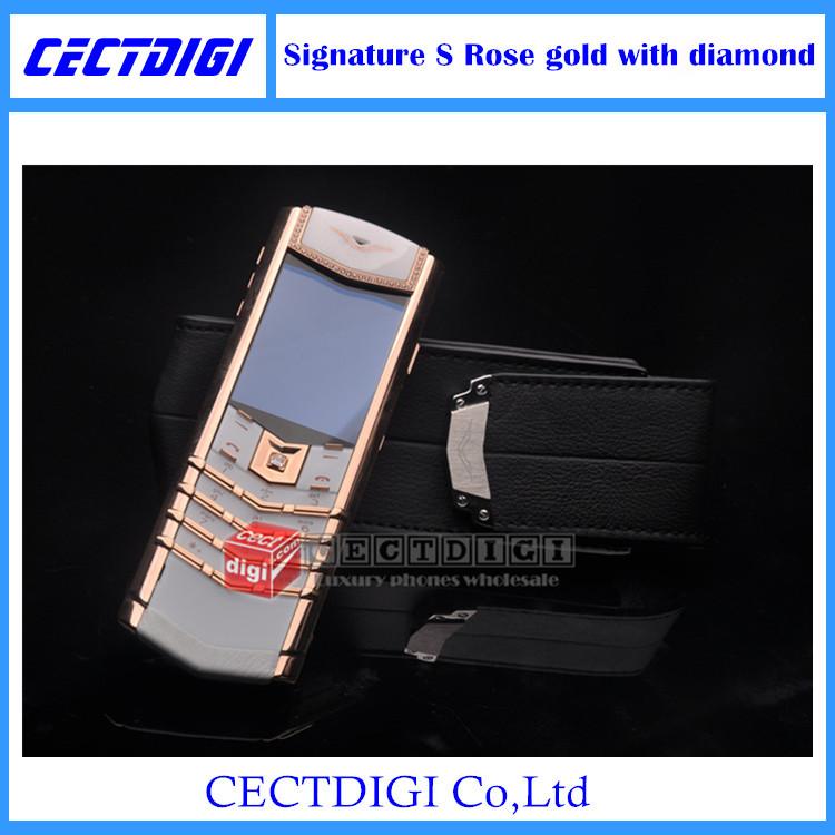 Luxury signature s rose gold phone Luxury cell phone Genuine Leather phone with diamond VIP phone(China (Mainland))