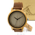 BOBO BIRD A19 Women Bamboo Wooden Watches for Men Real Leather Strap Quartz Watch for Woman