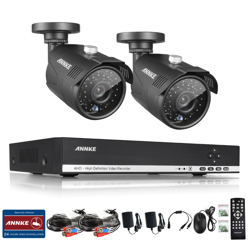 ANNKE HD 4 Channel 1080N 960P 1.3 mp DVR 2 Outdoor CCTV Home Security Camera System Kit(China (Mainland))