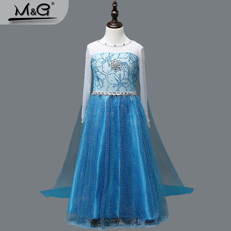 2016 kids summer dress girls Snow Queen blue tulle cloak princess costume children Festival party Elsa dress Anna Costume Girl(China (Mainland))
