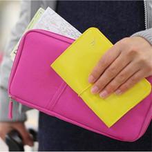 New women outdoor Travel Wallet Passport Holder Document Organizer Card Bag Rose carmine ASAF Free Shipping