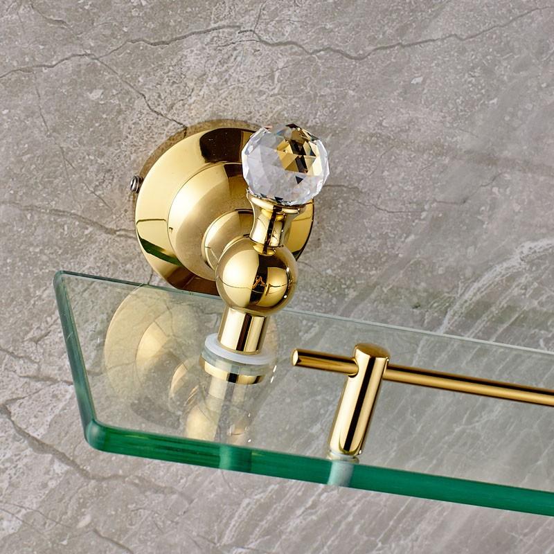 Купить Золотой и Настенное Крепление Стекла Ванна Хранения Держатель Ванная Комната Косметический Шельфа