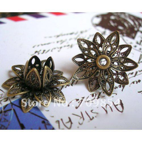 free shipping!!! 100pcs/lot 16x8mm Antique Copper plated Brass Stamping Filigree Flower Bead Caps jewelry findings<br><br>Aliexpress