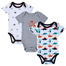 BABY BODYSUITS 3PCS 100%Cotton Infant Body Bebes Short Sleeve Clothing Similar Jumpsuit Printed Baby Boy Girl Bodysuits(China (Mainland))