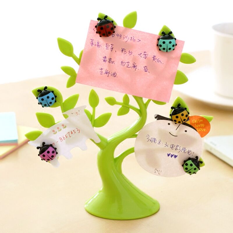 Creative ladybug fridge magnet + 1PCS lucky tree photo clip notes folder microwave refrigerator magnets stickers hoem decor63750(China (Mainland))