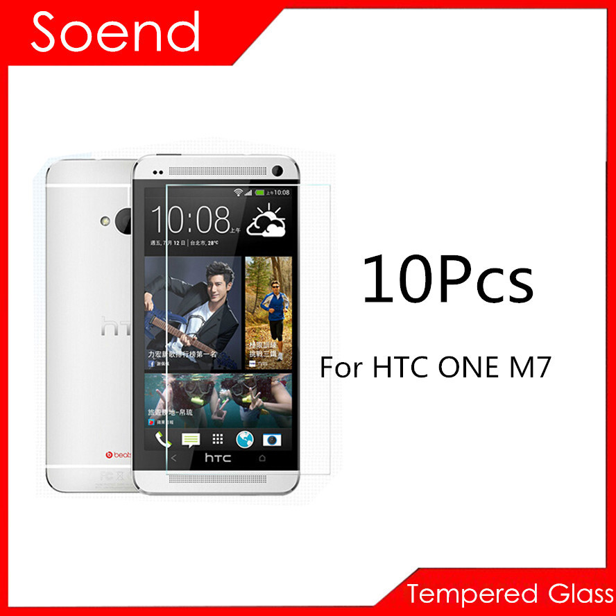 10Pcs/Lot Tempered Glass Screen Protector For HTC ONE M7 802T Protection Cover Toughened Protective Guard Film 2