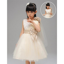 Elegant Boutique Cristal Girls Dress Party Ceremonies Single Oblique Shoulder Lace Kids Clothes Princess Costume Bow Clothing