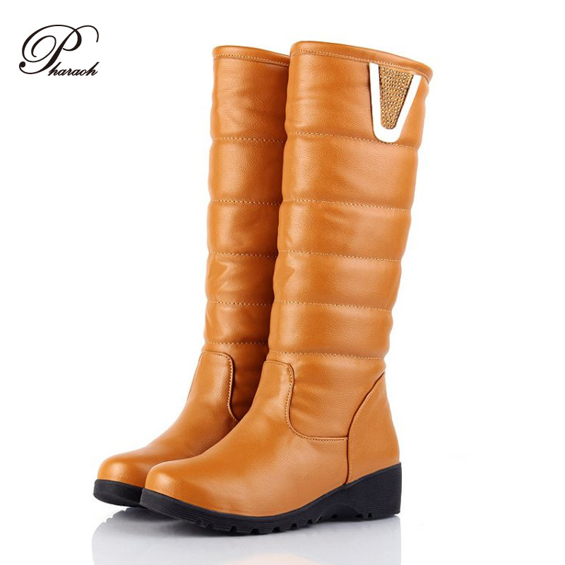 2014 fashion women knee high winter leather boots snow platform boot for girls winter shoes Christmas gifts<br><br>Aliexpress