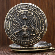 Buy Us Department Army Pocket Watch Retro Bronze FOB Watch Men Male Boy Necklace Pendant Quartz Pocket Watch Chain Gifts for $3.30 in AliExpress store