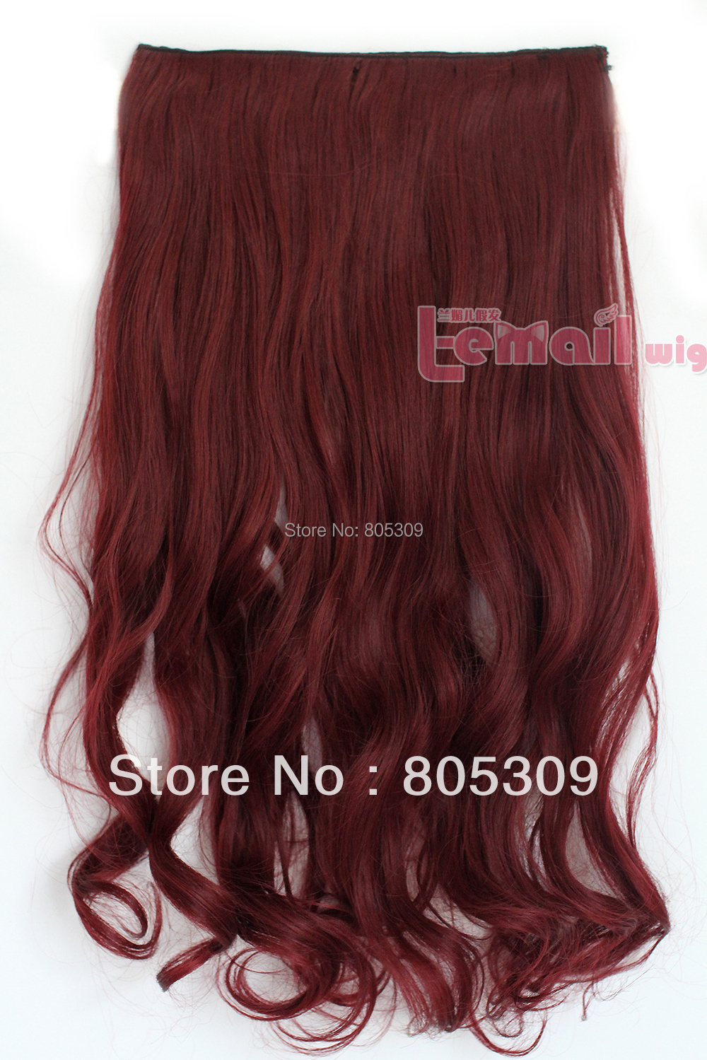Free Shipping 23*50CM Brown Color Long Women Synthetic Clip-In Curly Hair Extension Hairpiece(China (Mainland))