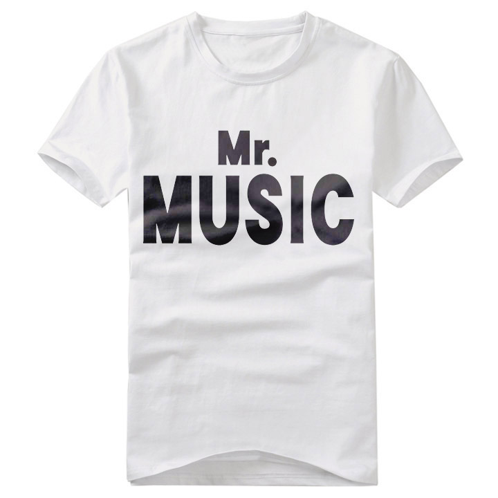 new fashion 2015 Mr music men s t shirt short sleeve T shirt letter print casual