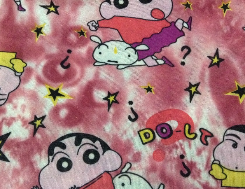 Free shippig 150cm Width Crayon Shin-chan printed polyester stretch fabric,Children's clothes,soft and tender touch, XERY2081(China (Mainland))