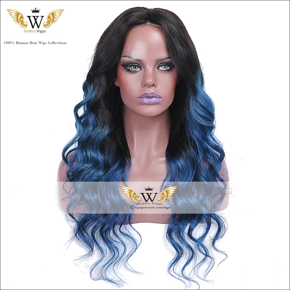 7A 130Density Brazilian Human Ombre Blue Human Lace Front Wig Blue Lace Front Wig Two Tone Blue Human Hair Wigs Full Lace Wig(China (Mainland))
