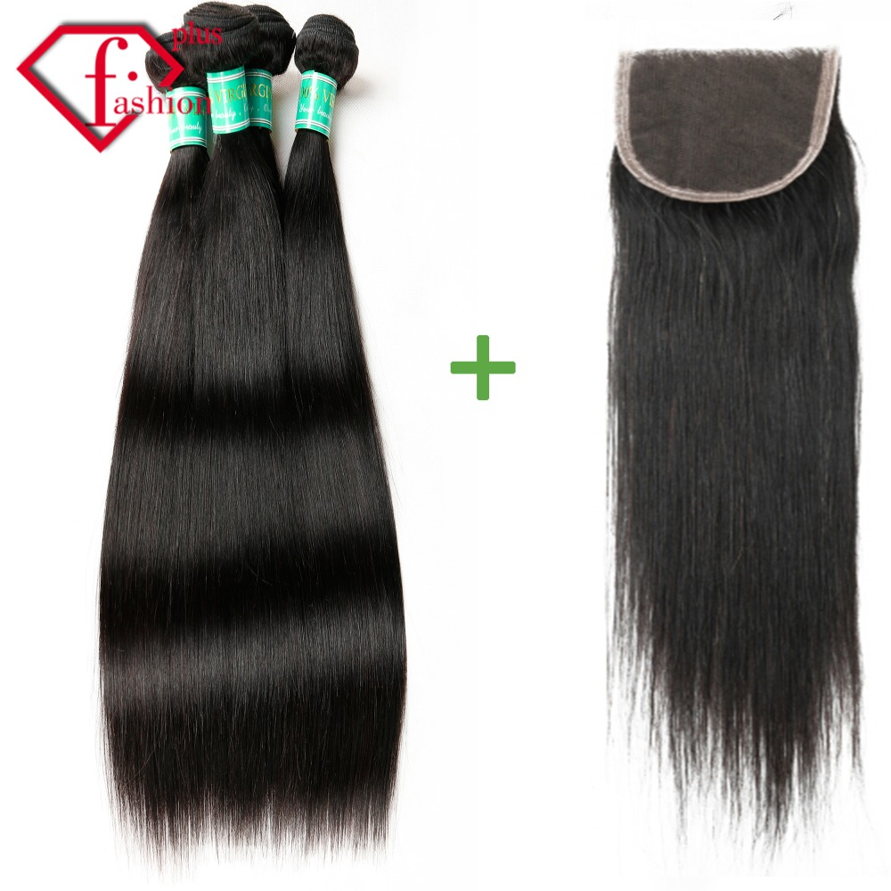 Malaysian Straight Hair With  lace Closure human Hair 3 Bundles With Closure 6a Unprocessed Virgin Malaysian Hair With Closure